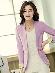 Women's Red/Black/Yellow/Purple Blazer , Bodycon/Work Long Sleeve