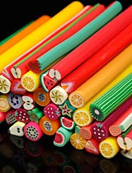 50PCS Fruit Pattern 3D Cane Stick Rod Sticker Random Color Nail Art Decoration