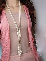miki pile noeud long collier de perle