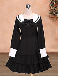 One-Piece/Dress Sailor Lolita Lolita Cosplay Lolita Dress White / Black Solid Long Sleeve Medium Length Dress For Women Cotton