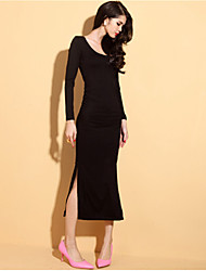 Women's Casual Round Long Sleeve Dresses (Roman Knit)