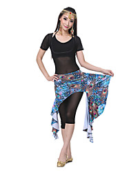 Performance Women's Silk Peacock Print Belly Dance Skirt(More Colors)