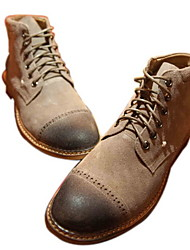 Leather Men's Low Heel Cap Toe Boots with Lace-up(More Colors)