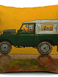 caricatura motorista engraçado cão algodão / linho fronha decorativo