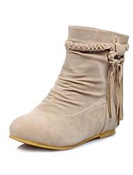 plana calcanhar dedo do pé redondo moda botas tornozelo reunindo mulheres (mais cores)