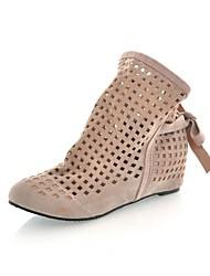 Salto Plano Sapatinho Toe Redonda flocagem Mulheres / Ankle Boots (mais cores)