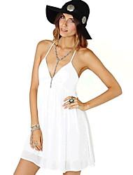 Yeei Strap cabido branco vestido de chiffon