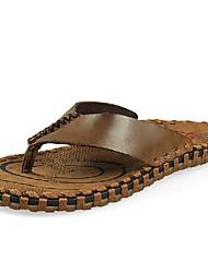 мужская кожаная плоским пятки флип-флоп тапочки обувь (больше цветов)