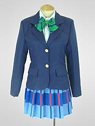 Inspired by Love Live Niko Yazawa Anime Cosplay Costumes Cosplay Suits Patchwork Blue Long Sleeve Coat / Shirt / Skirt