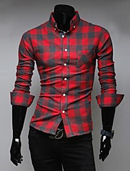 Masculino Casual manga longa xadrez Color Matching Shirt