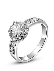 ROXI Западный стиль Австрия Кристалл Платиновый Четыре коготь кольцо