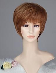 Women Capless Fashion Short Straight Light Auburn Synthetic Wig with Full Bang