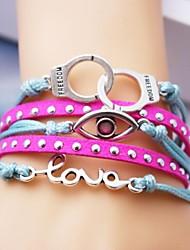 pulsera de cuero de aleación de múltiples capas del ojo y el amor encantos pulsera hecha a mano