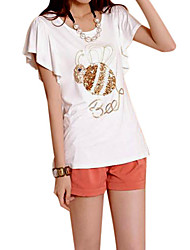 Women's Print Black/White T-shirt , Casual/Print/Cute/Party/Work Round Neck Short Sleeve Sequins