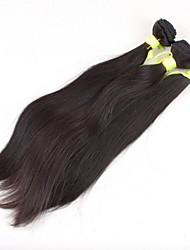 5a 3 peças / set grau brasileiro do cabelo humano virgem reta de seda da extensão do cabelo / tecelagem (cor natural)