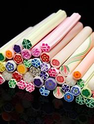 Patrón de la flor 50pcs etiqueta vara vara de caña 3d color al azar de uñas decoración del arte