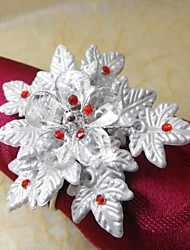 Leaf Multi  Beads Flower In Multi Color Napkin Ring,Acrylic Beades, 3.5CM, Set of 12,