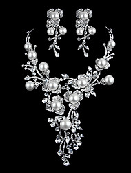 Jewelry Set Women's Wedding / Special Occasion Jewelry Sets Imitation Pearl / Rhinestone Necklaces / Earrings Silver