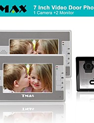 TMAX® 7 Inch Color TFT LCD Video Door Phone with 500TVL Night Vision Camera (1Camera to 2Monitors)