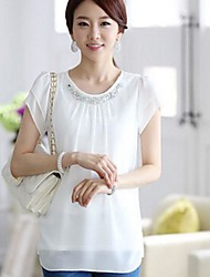 Women's Loose Short Sleeve Chiffon Unlined Upper Garment Shirts
