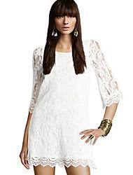 YMR vestido de encaje de cuello redondo