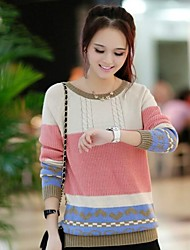 Women's Blue/Pink/Red/Yellow Pullover , Casual/Cute Long Sleeve