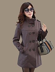 Women's Gray Trench Coat , Bodycon/Casual/Party/Plus Sizes Long Sleeve Cotton