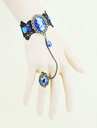 Mialy Blue Ribbon Black Lace Bracelet With Ring