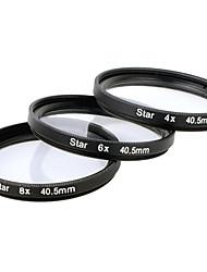 Filtro Estrella x 40.5mm 4 puntos + 6 puntos + 8 puntos Traje Tres piezas de combinación para Canon / Nikon / Sony SLR etc - Negro