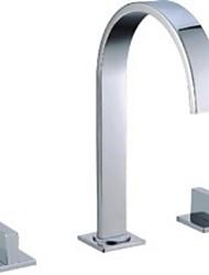 Solid Brass Chrome Finished 3 Pcs Faucet Set 2 Handles Sink Basin Faucet, Basin Mixer  6509