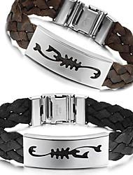 Personality Scorpion Hand-woven Rope Leather Titanium Steel Bracelet
