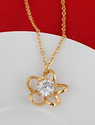 Women's Flower Pattern With Zircon Studded Drop 18K Gold Necklace