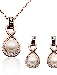 Women's 18K Rose Gold Diamond Eight-shaped Pearl (Necklace&Earrings) Jewelry Sets