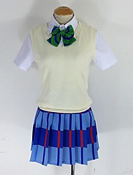 Inspired by Love Live Niko Yazawa Anime Cosplay Costumes Cosplay Suits Patchwork Blue Short Sleeve Vest / Shirt / Skirt / Socks