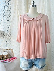 Women's Vintage / Cute Shirt ¾ Sleeve Pink / Brown Polyester Opaque