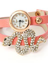 смею U женщин diamonded завернутый цепь змея Print Watch
