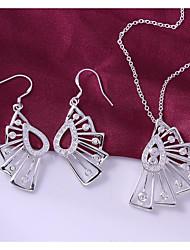moda banhado a prata (inclui colar&brinco) Vão conjunto de jóias fã (1 sets)