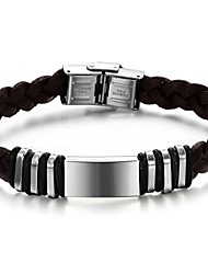 pulsera de acero titanium liso moda tejida cuero marrón