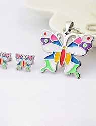 Colore della farfalla di modo titanio acciaio collane e orecchini Gioielli Set