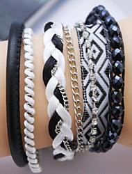 Multilayer Negro circón pulsera hecha a mano del cuero