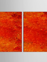 Hand Painted Oil Painting Abstract   Red House Decor with Stretched Frame Set of 2