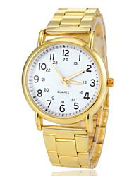 reloj de pulsera de cuarzo de banda de acero de oro esfera redonda de las mujeres