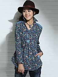 Mujeres MengFuRong ® Plaza Larga Seelve camisa de algodón de cuello de impresión