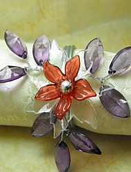 Multy Layer Crystal Leaf Flower Napkin Ring, Acrylic Beades, 3.5CM, Set of 12,