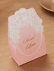 'Sweet Love' Pink Paper Card Favor Holder-conjunto de 12