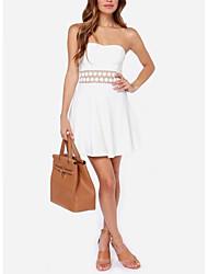 Lace Bordados das mulheres na cintura e Branco Bra Vestido
