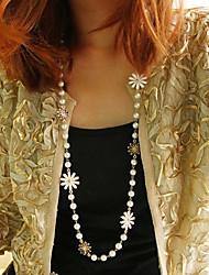 moda siyun high end margarida forma longo colar de pérolas
