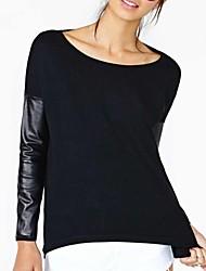 Damen Solide Einfach Lässig/Alltäglich T-shirt,Bateau Frühling / Sommer / Herbst Langarm Schwarz Dünn