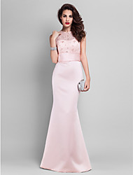 Homecoming Prom/Military Ball/Formal Evening Dress - Pearl Pink Plus Sizes Trumpet/Mermaid Jewel Floor-length Satin/Lace