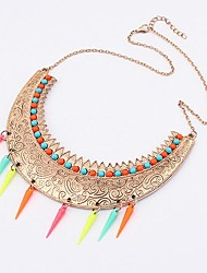 Women'S Western Exaggerated Exotic Figure Button  Fashion Necklace